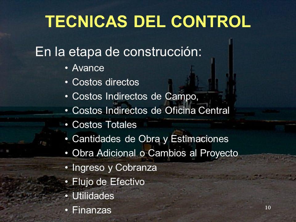 TECNICAS DEL CONTROL En la etapa de construcción: Avance