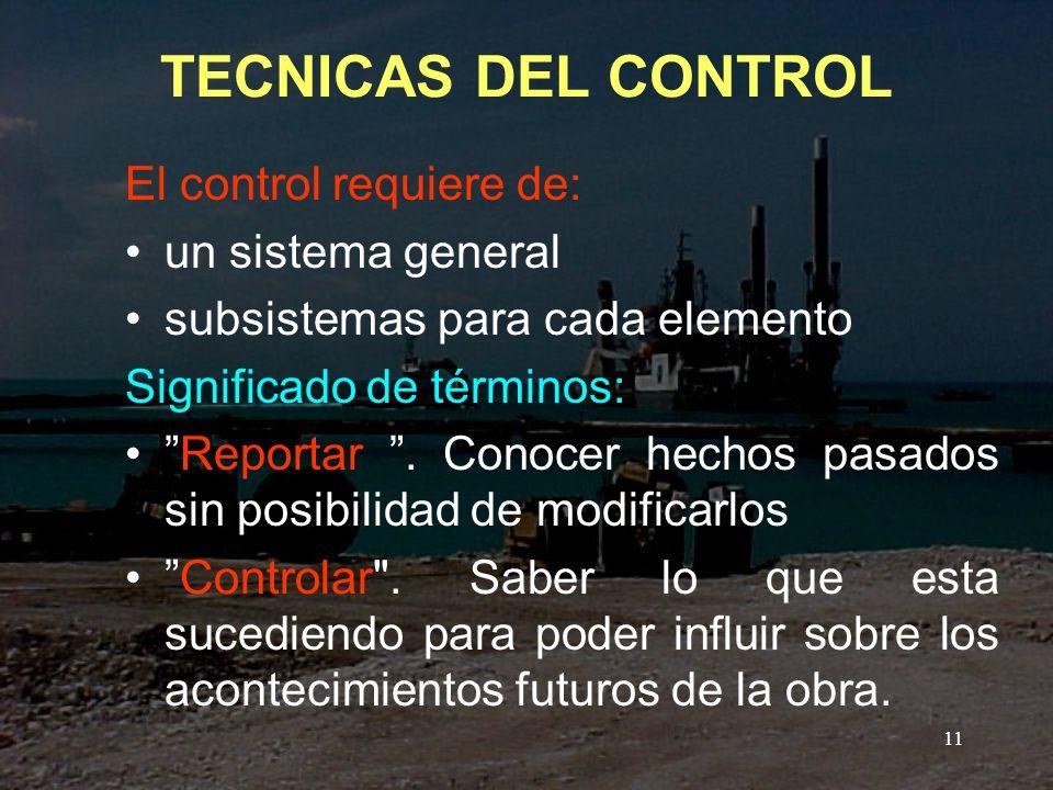 TECNICAS DEL CONTROL El control requiere de: un sistema general