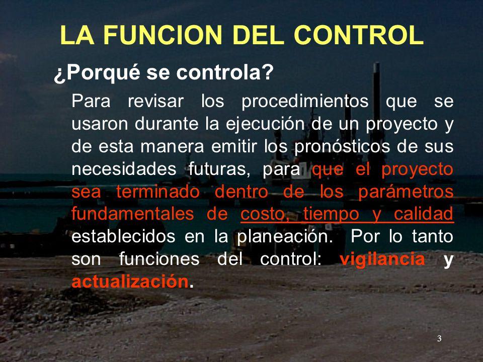 LA FUNCION DEL CONTROL ¿Porqué se controla