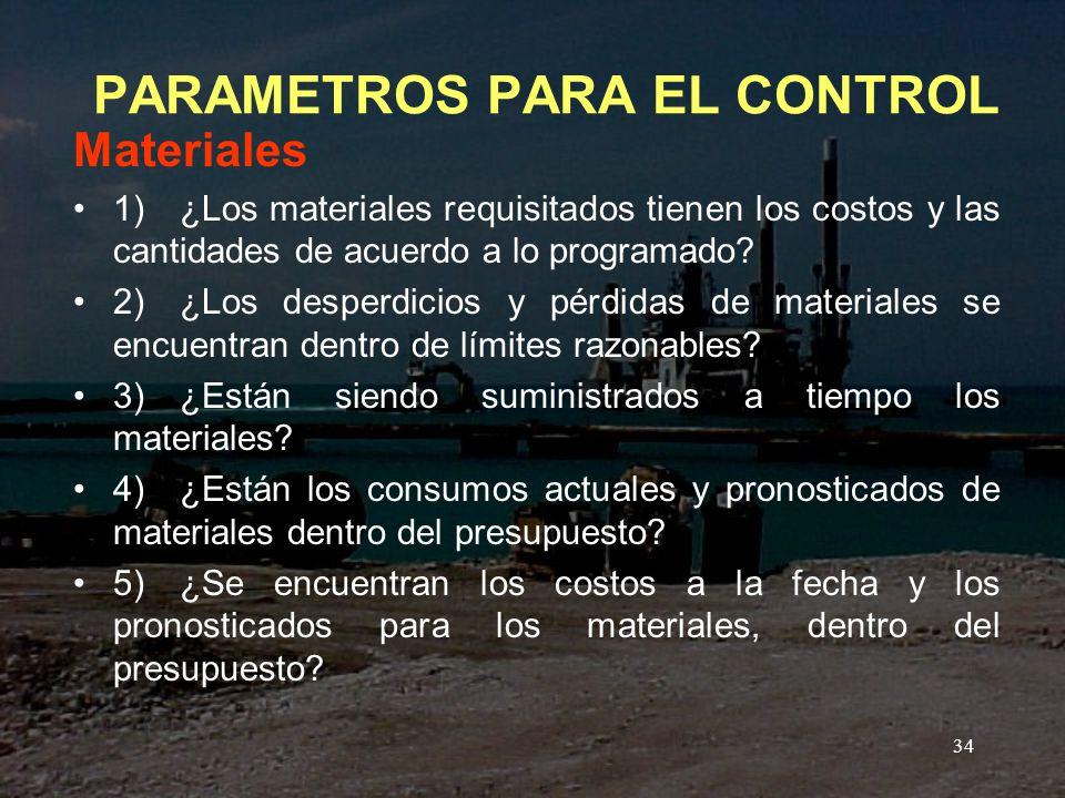 PARAMETROS PARA EL CONTROL
