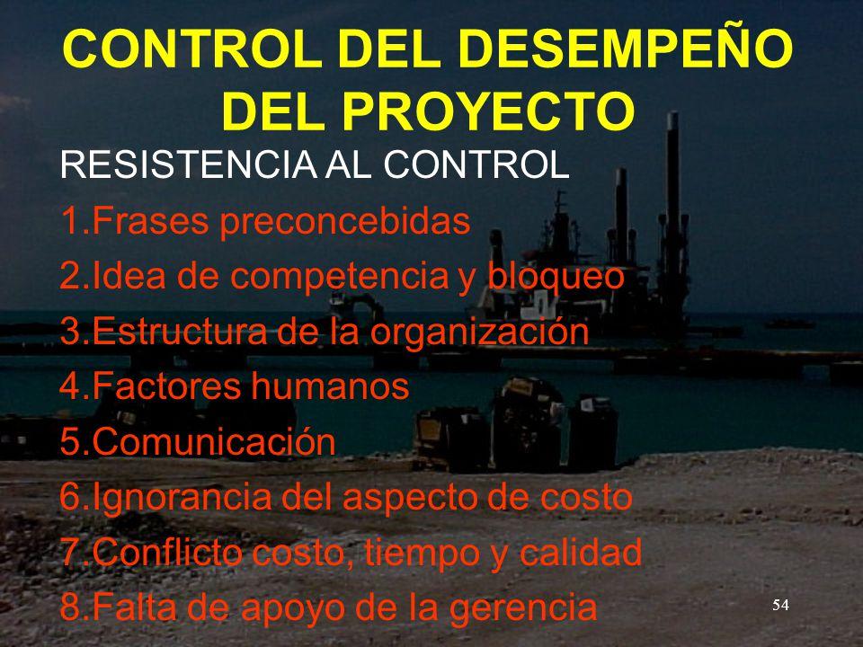 CONTROL DEL DESEMPEÑO DEL PROYECTO