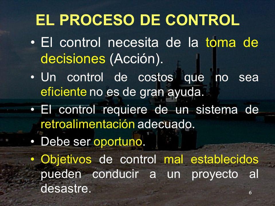 EL PROCESO DE CONTROL El control necesita de la toma de decisiones (Acción). Un control de costos que no sea eficiente no es de gran ayuda.