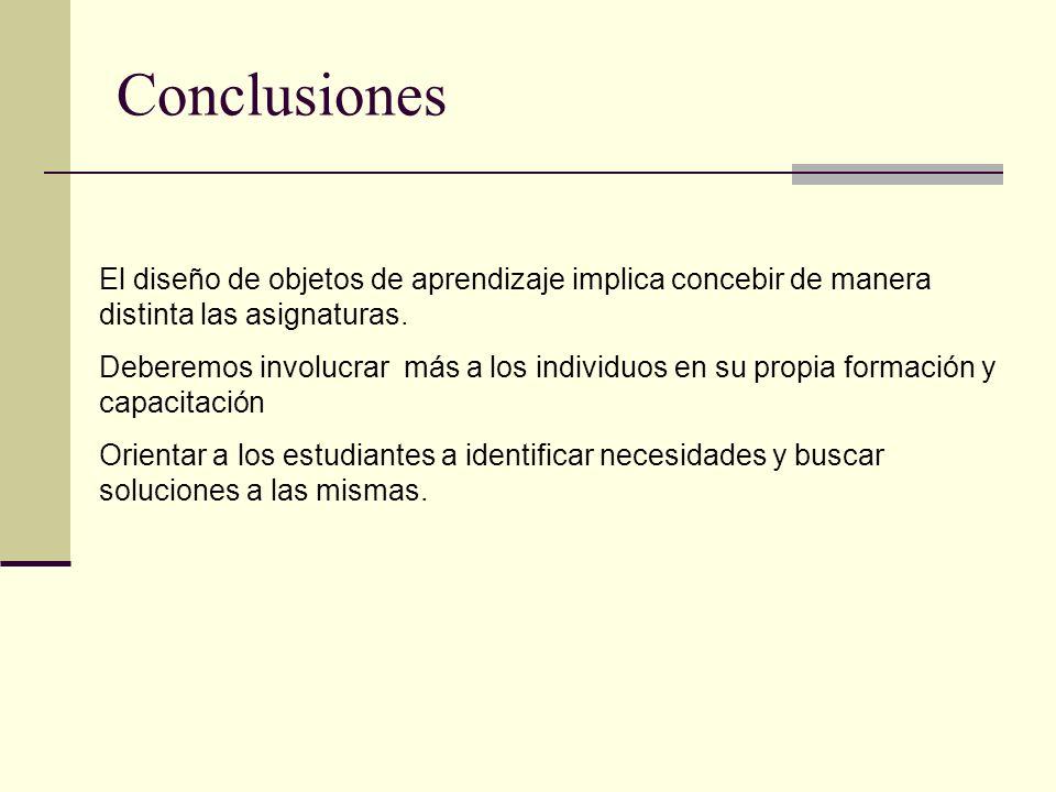 Conclusiones El diseño de objetos de aprendizaje implica concebir de manera distinta las asignaturas.