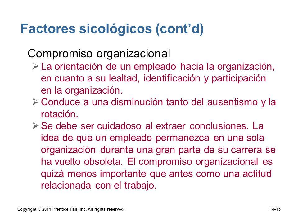 Factores sicológicos (cont'd)