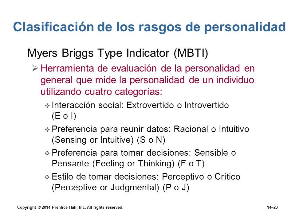 Clasificación de los rasgos de personalidad