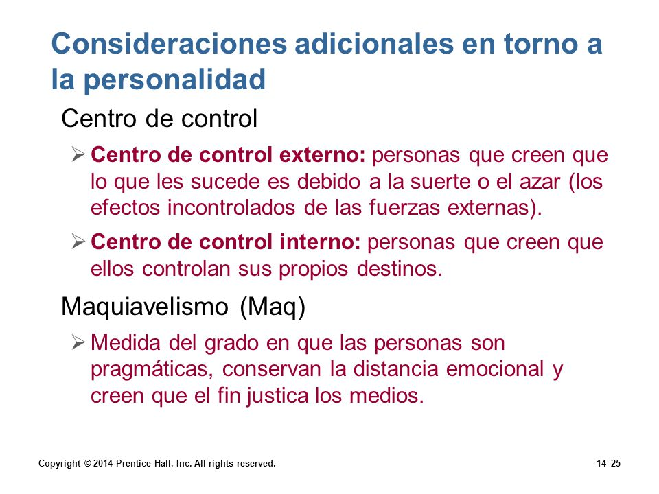 Consideraciones adicionales en torno a la personalidad