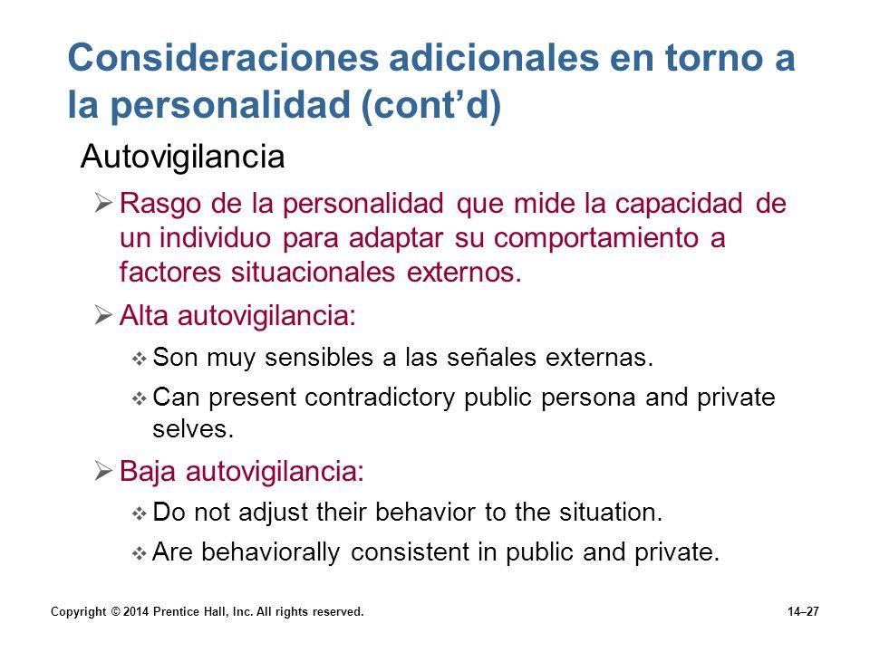 Consideraciones adicionales en torno a la personalidad (cont'd)