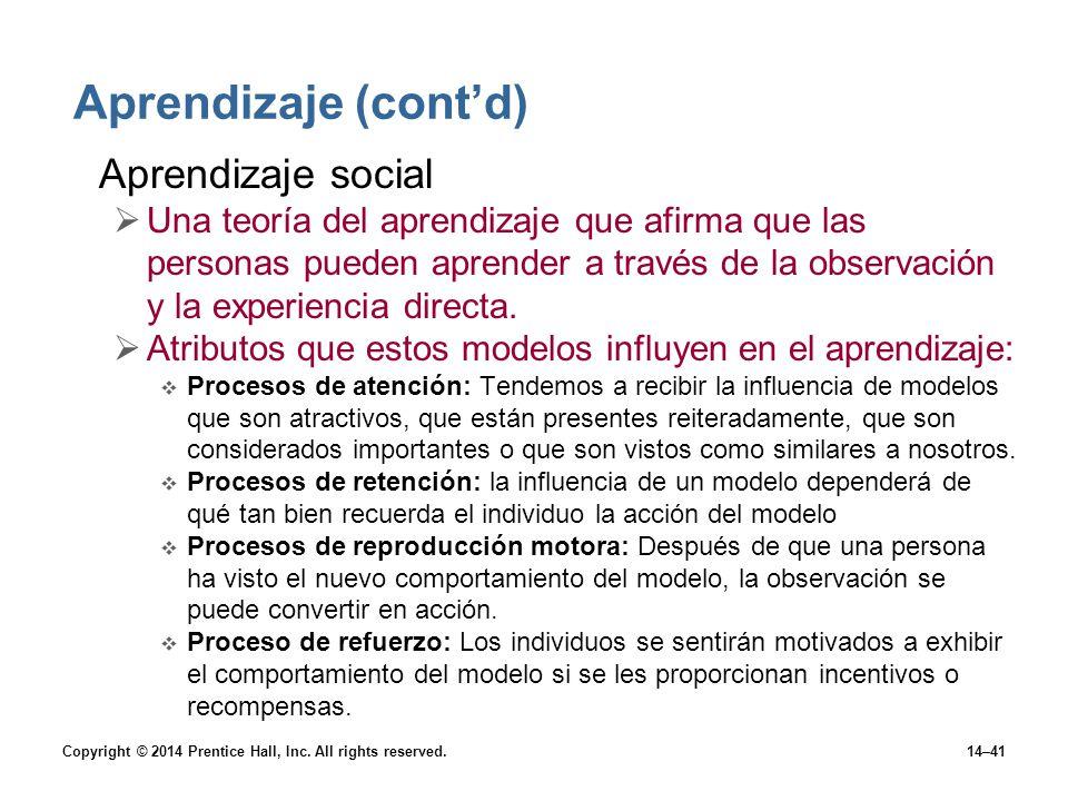 Aprendizaje (cont'd) Aprendizaje social