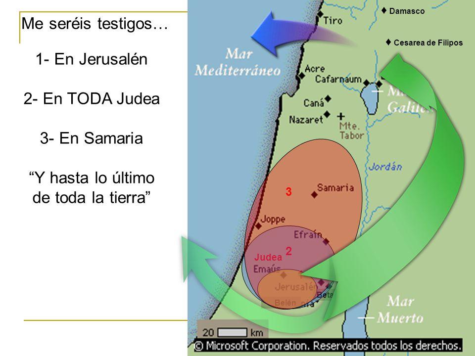 Me seréis testigos… 1- En Jerusalén 2- En TODA Judea 3- En Samaria