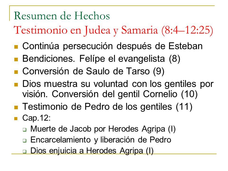 Resumen de Hechos Testimonio en Judea y Samaria (8:4–12:25)
