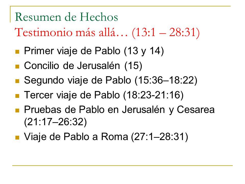 Resumen de Hechos Testimonio más allá… (13:1 – 28:31)