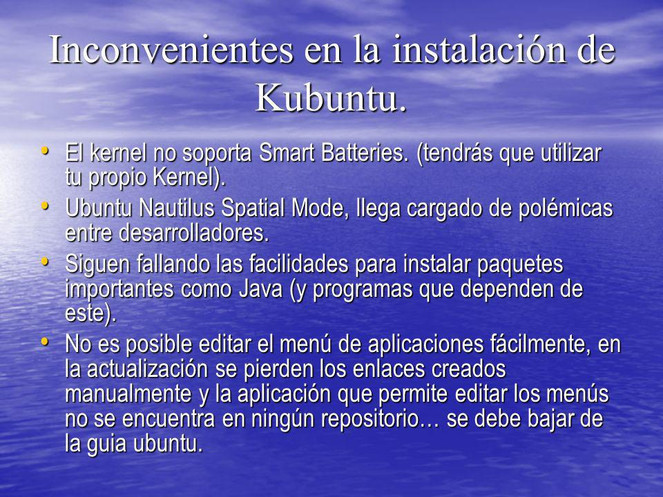 Inconvenientes en la instalación de Kubuntu.