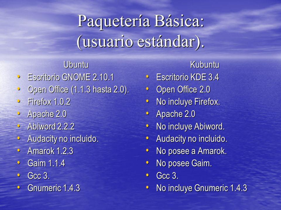 Paquetería Básica: (usuario estándar).