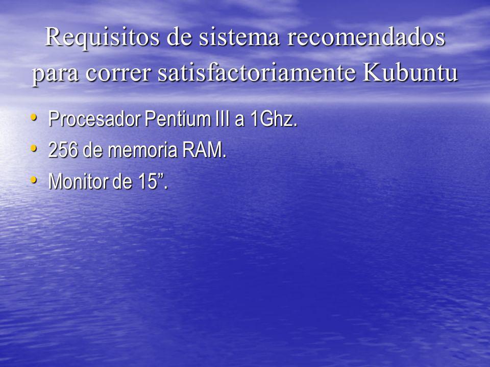 Requisitos de sistema recomendados para correr satisfactoriamente Kubuntu