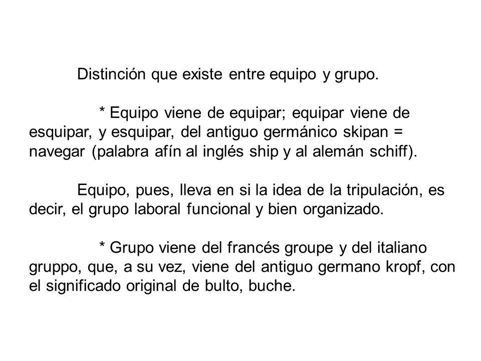 Distinción que existe entre equipo y grupo.