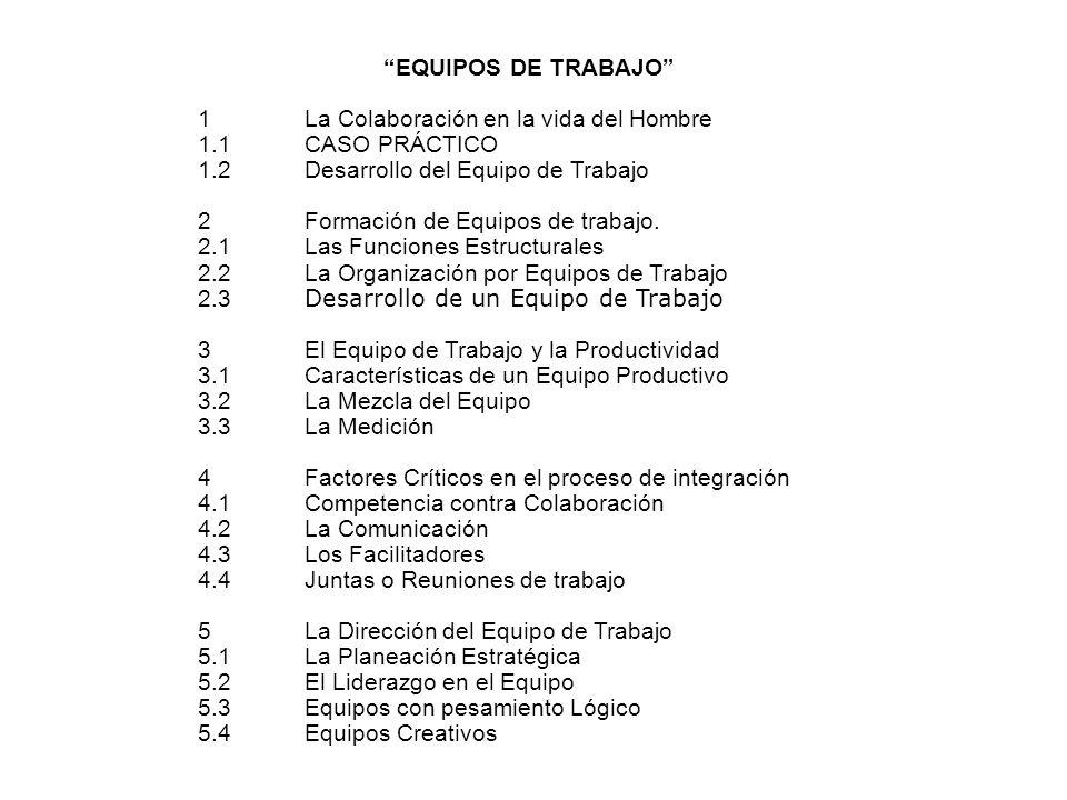 EQUIPOS DE TRABAJO 1 La Colaboración en la vida del Hombre. 1.1 CASO PRÁCTICO. 1.2 Desarrollo del Equipo de Trabajo.