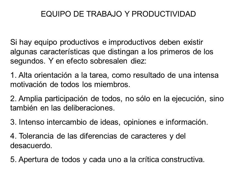 EQUIPO DE TRABAJO Y PRODUCTIVIDAD