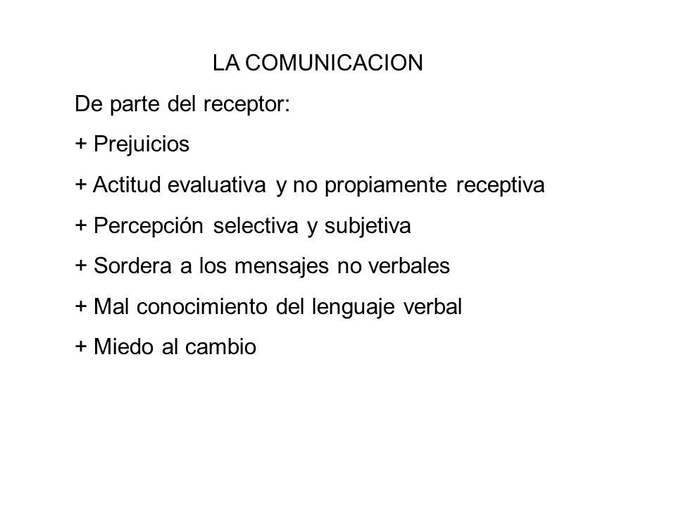 LA COMUNICACION De parte del receptor: + Prejuicios. + Actitud evaluativa y no propiamente receptiva.