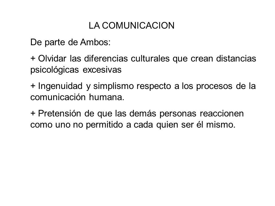 LA COMUNICACION De parte de Ambos: + Olvidar las diferencias culturales que crean distancias psicológicas excesivas.