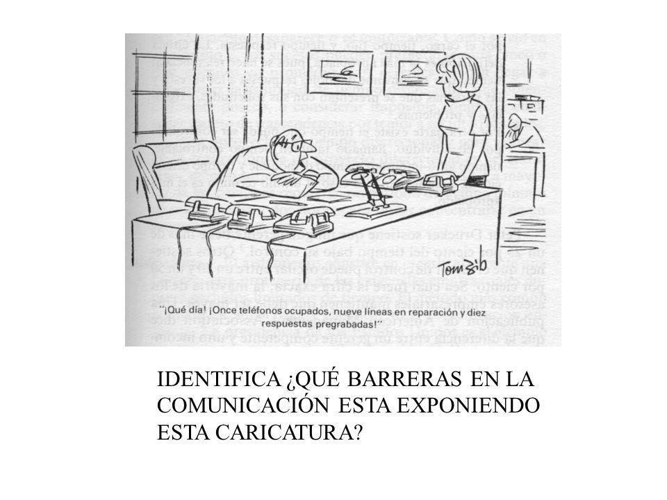 IDENTIFICA ¿QUÉ BARRERAS EN LA COMUNICACIÓN ESTA EXPONIENDO ESTA CARICATURA
