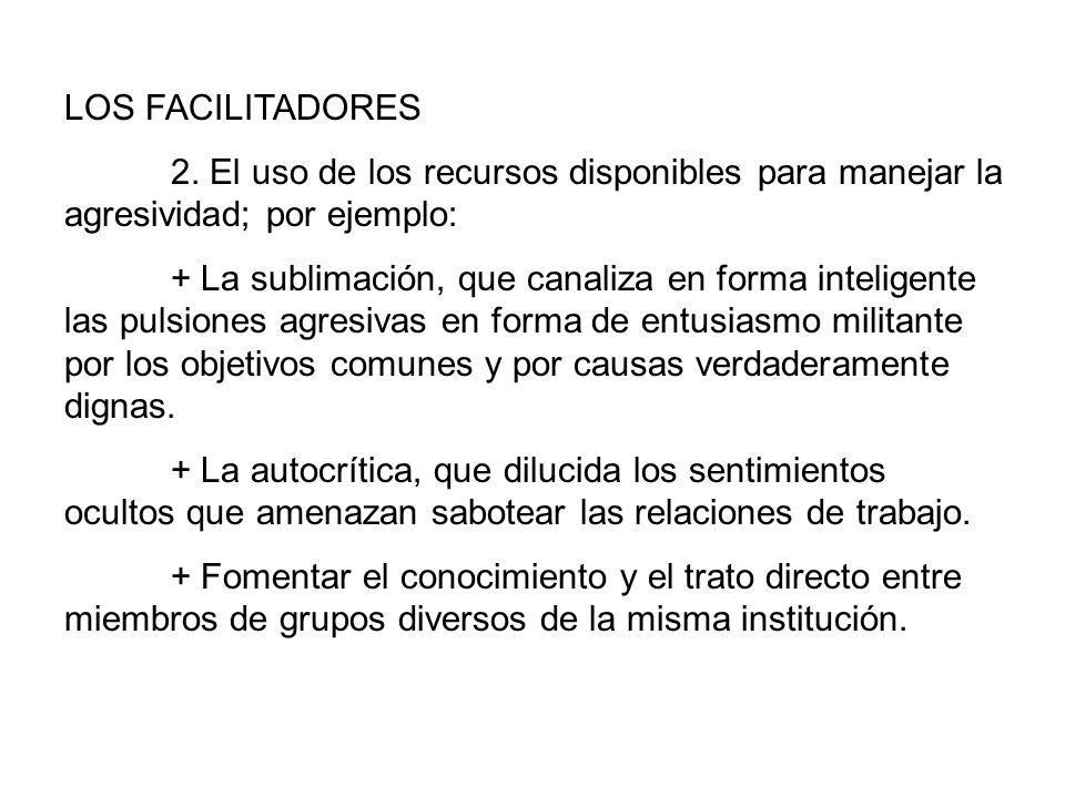 LOS FACILITADORES 2. El uso de los recursos disponibles para manejar la agresividad; por ejemplo: