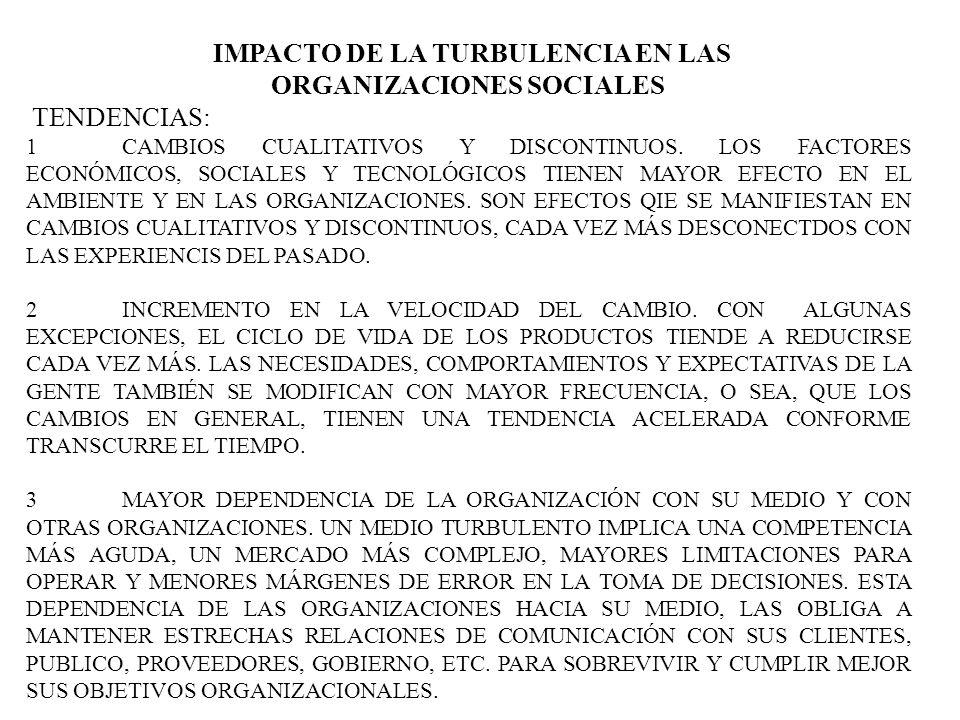 IMPACTO DE LA TURBULENCIA EN LAS ORGANIZACIONES SOCIALES TENDENCIAS: