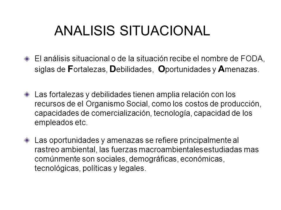 ANALISIS SITUACIONAL El análisis situacional o de la situación recibe el nombre de FODA,
