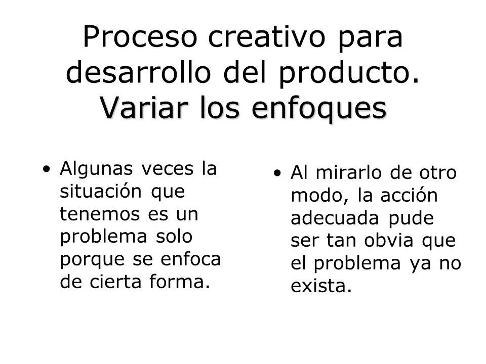 Proceso creativo para desarrollo del producto. Variar los enfoques