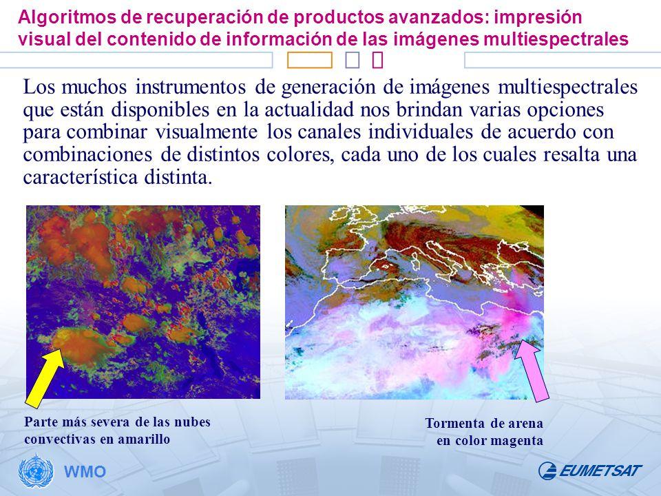 Algoritmos de recuperación de productos avanzados: impresión visual del contenido de información de las imágenes multiespectrales