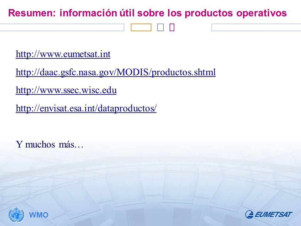 Resumen: información útil sobre los productos operativos