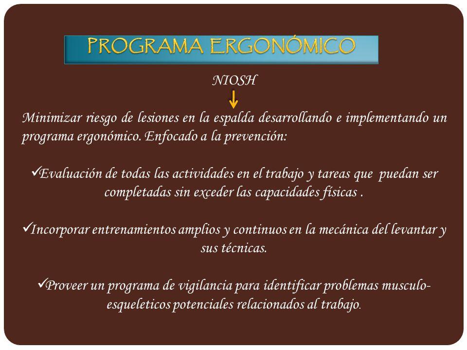PROGRAMA ERGONÓMICO NIOSH.