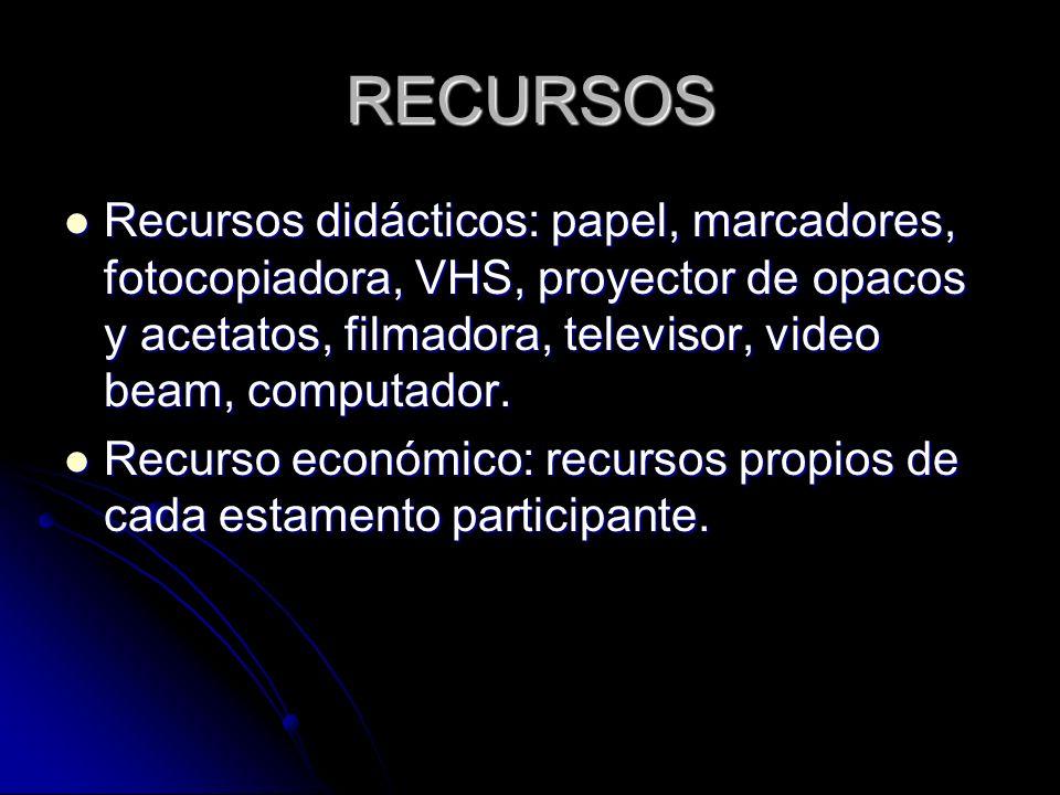 RECURSOS Recursos didácticos: papel, marcadores, fotocopiadora, VHS, proyector de opacos y acetatos, filmadora, televisor, video beam, computador.