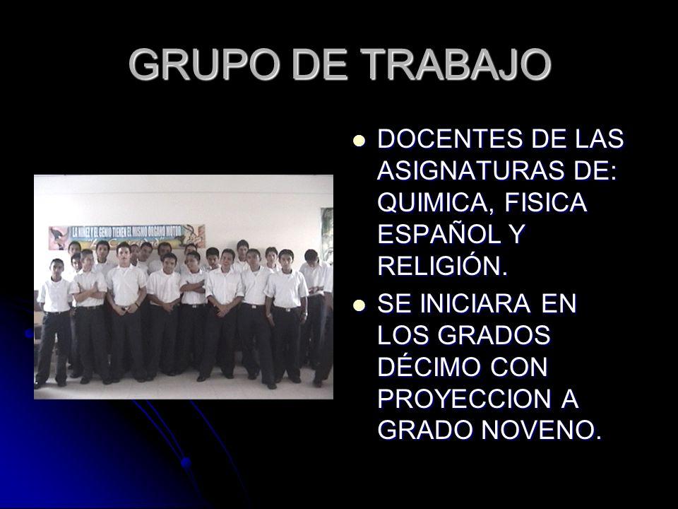 GRUPO DE TRABAJODOCENTES DE LAS ASIGNATURAS DE: QUIMICA, FISICA ESPAÑOL Y RELIGIÓN.