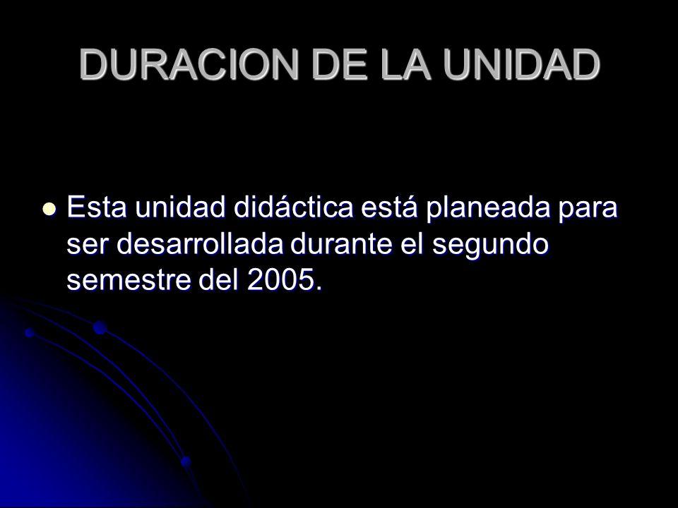 DURACION DE LA UNIDADEsta unidad didáctica está planeada para ser desarrollada durante el segundo semestre del 2005.