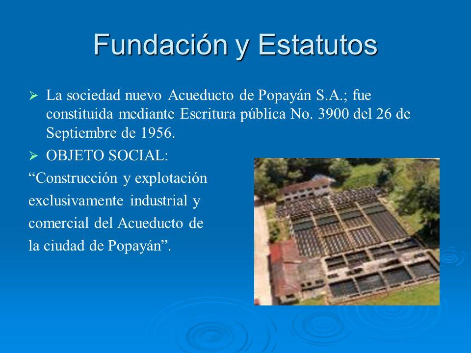 Fundación y Estatutos La sociedad nuevo Acueducto de Popayán S.A.; fue constituida mediante Escritura pública No. 3900 del 26 de Septiembre de 1956.