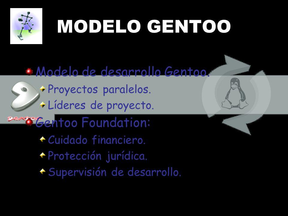 MODELO GENTOO Modelo de desarrollo Gentoo. Gentoo Foundation:
