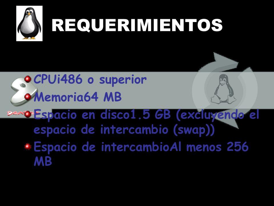 REQUERIMIENTOS CPUi486 o superior Memoria64 MB
