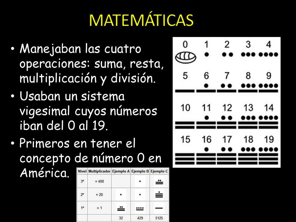 MATEMÁTICAS Manejaban las cuatro operaciones: suma, resta, multiplicación y división. Usaban un sistema vigesimal cuyos números iban del 0 al 19.
