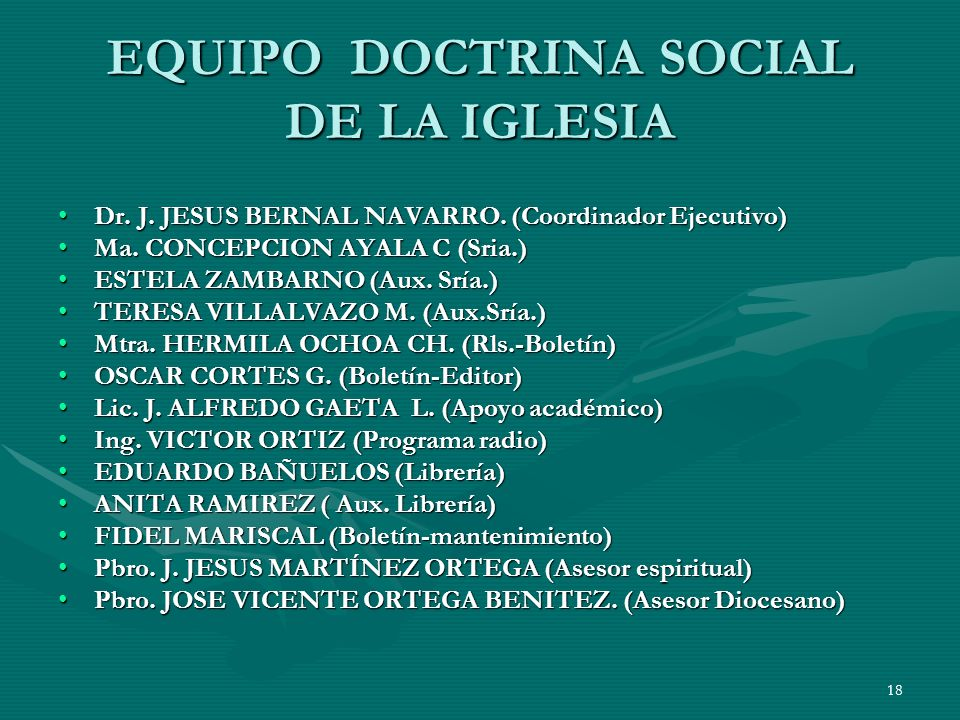 EQUIPO DOCTRINA SOCIAL DE LA IGLESIA