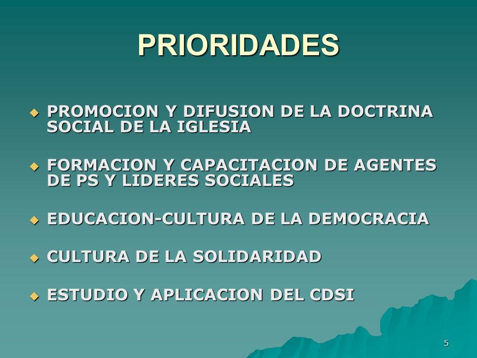 PRIORIDADES PROMOCION Y DIFUSION DE LA DOCTRINA SOCIAL DE LA IGLESIA