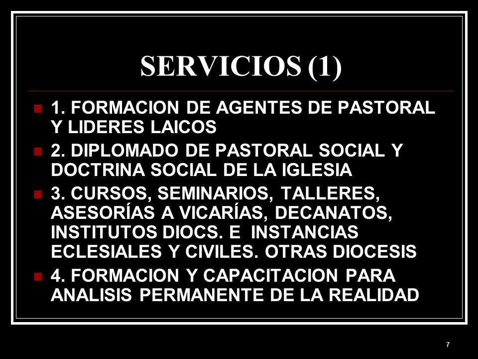 SERVICIOS (1) 1. FORMACION DE AGENTES DE PASTORAL Y LIDERES LAICOS