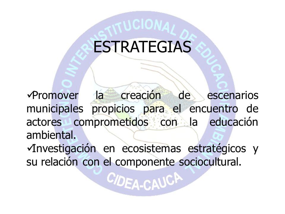 ESTRATEGIASPromover la creación de escenarios municipales propicios para el encuentro de actores comprometidos con la educación ambiental.