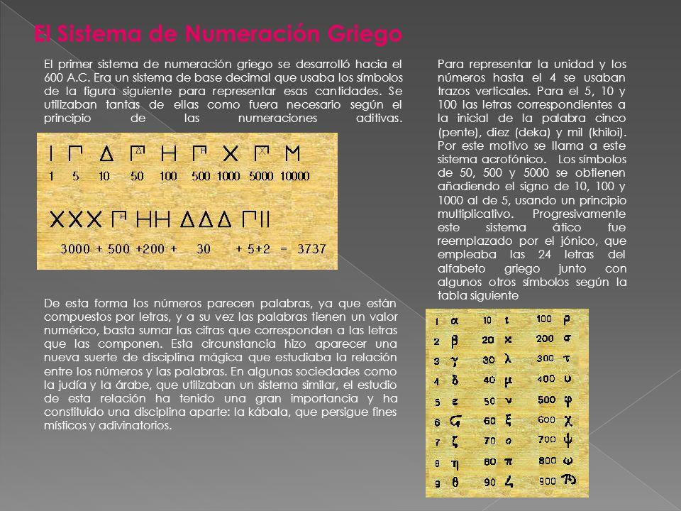 El Sistema de Numeración Griego