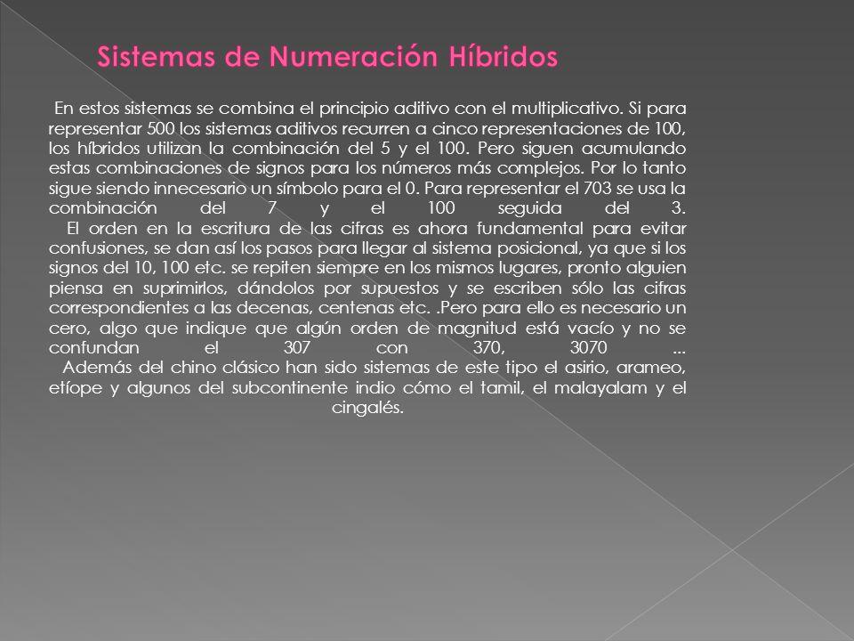 Sistemas de Numeración Híbridos