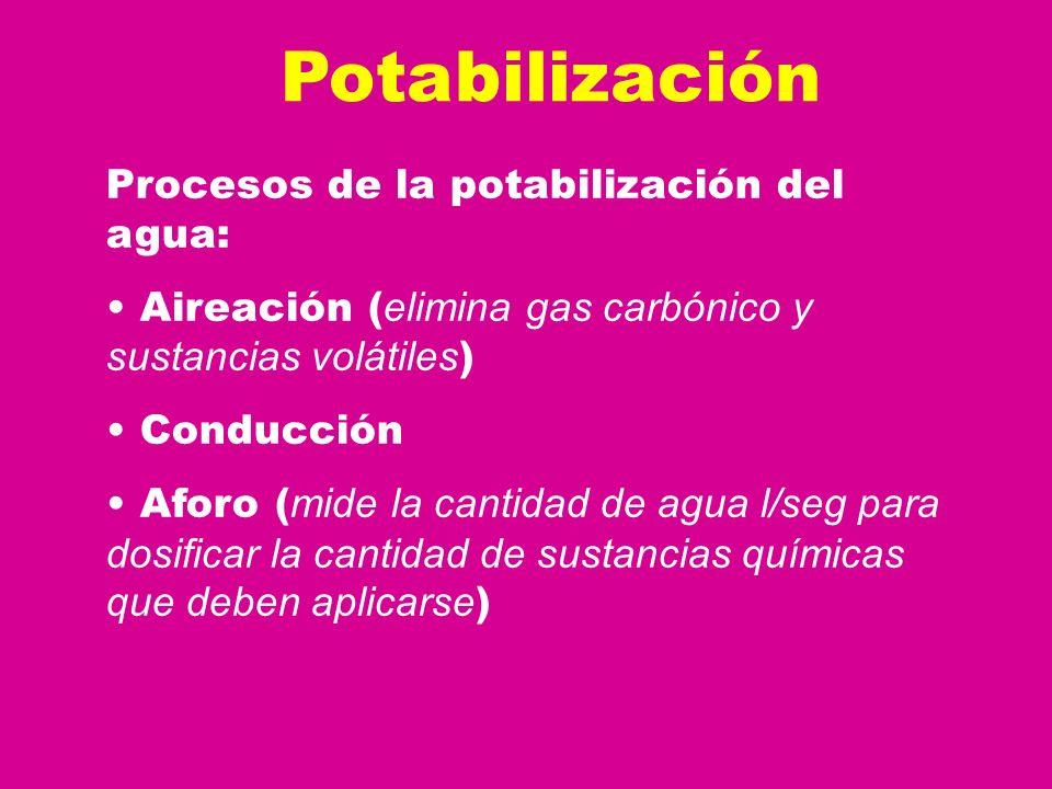 Potabilización Procesos de la potabilización del agua:
