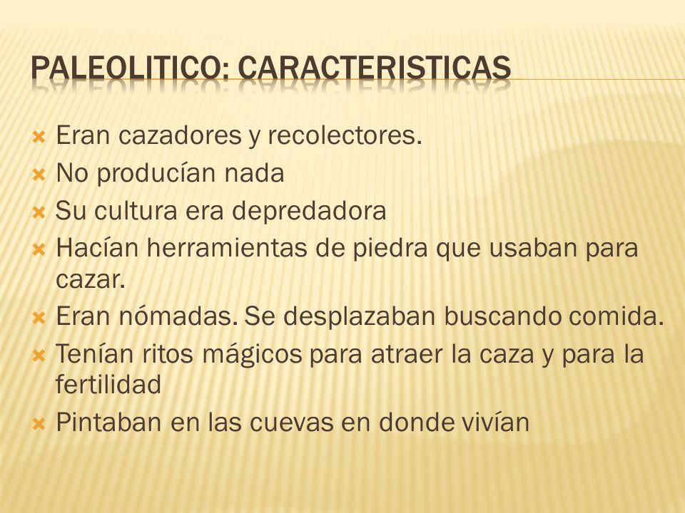 PALEOLITICO: CARACTERISTICAS