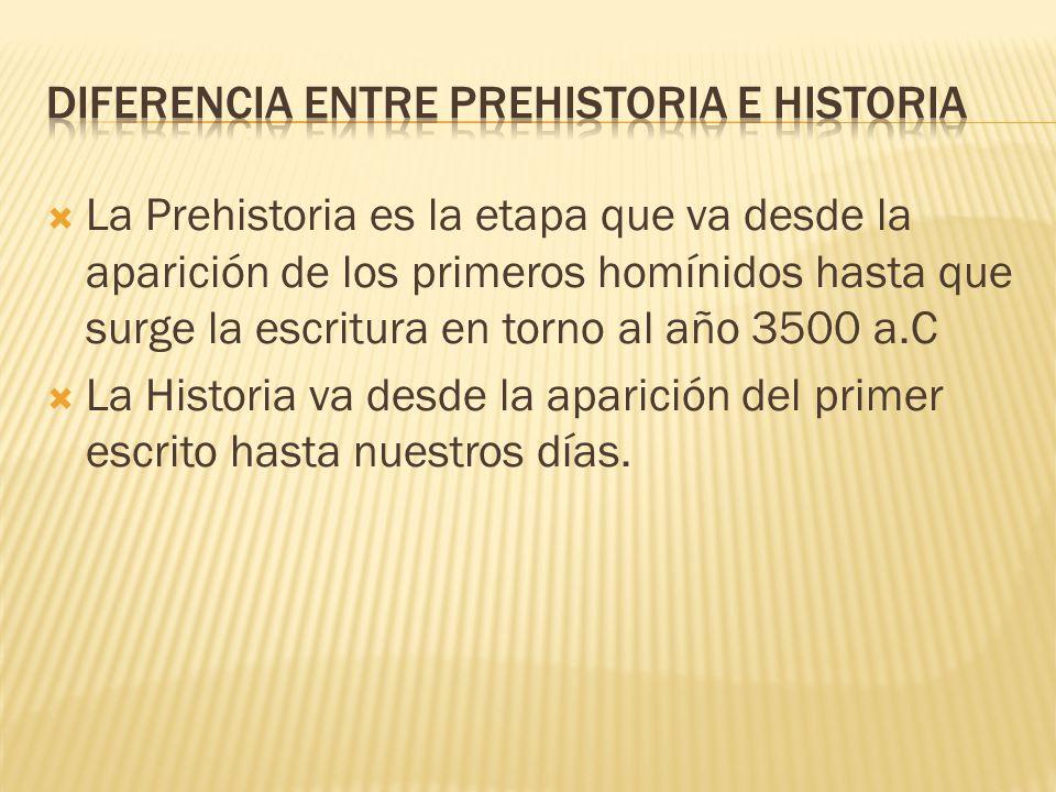 DIFERENCIA ENTRE PREHISTORIA E HISTORIA