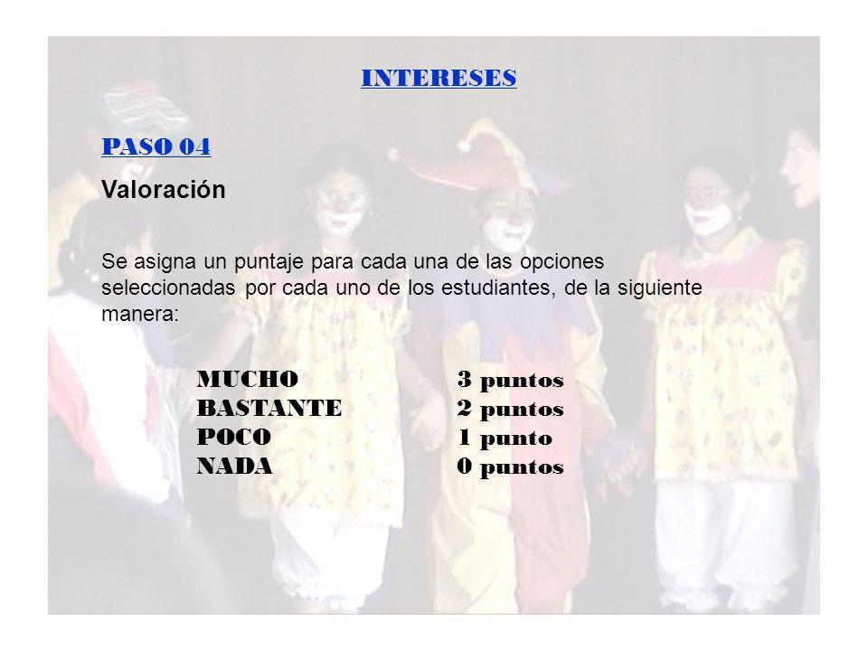 INTERESES PASO 04 Valoración MUCHO 3 puntos BASTANTE 2 puntos