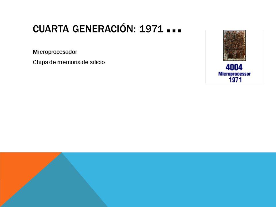 Cuarta Generación: 1971 ... Microprocesador Chips de memoria de silicio