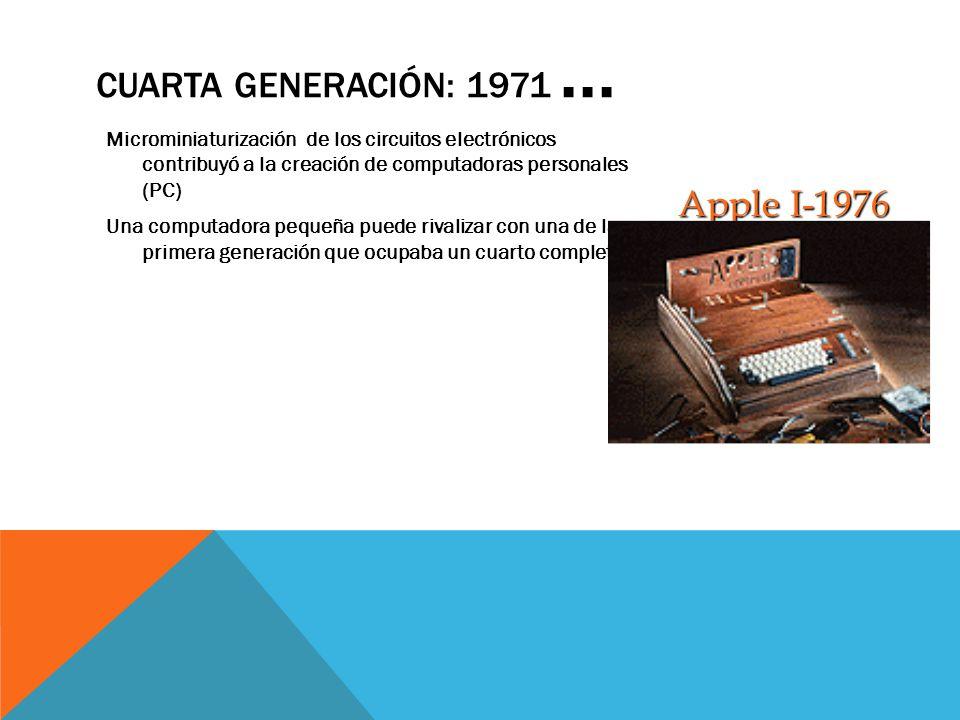 Cuarta Generación: 1971 ... Apple I-1976
